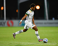 LAKE BUENA VISTA, FL - AUGUST 01: Jeremy Ebobisse #17 of the Portland Timbers takes a shot during a game between Portland Timbers and New York City FC at ESPN Wide World of Sports on August 01, 2020 in Lake Buena Vista, Florida.