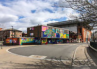 Empty streets in High Wycombe with graffiti displaying 'stay positive' during the Covid-19 pandemic where the country is in a restricted lockdown. <br /> Photo by Andy Rowland on April 3rd 2020.