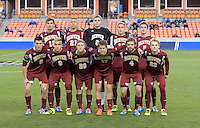 Houston, TX - Friday December 9, 2016: The Denver Pioneers staring XI at the NCAA Men's Soccer Semifinals at BBVA Compass Stadium in Houston Texas.