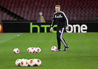 Wednesday 26 February 2014<br /> Pictured: Manager Garry Monk in training.<br /> Re: Swansea City FC press conference and training at San Paolo in Naples Italy for their UEFA Europa League game against Napoli.
