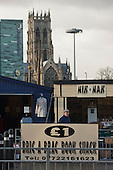 Bric-a-brac stall in Doncaster market, close to the Minster Church of St.George, a city landmark.