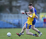 Eoin Cleary of Clare in action against Peter Domican of Roscommon during their National League game at Cusack Park. Photograph by John Kelly.