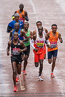 4th October 2020, London, England; 2020 London Marathon; Benson Kipruto (KEN) leads Eliud Kipchoge (KEN), Vincent Kipchumba (KEN) and Sisay Lemma (ETH) in the Elite Men's Race as part of the historic elite-only Virgin Money London Marathon taking place on a closed-loop circuit around St James's Park in central London on Sunday 4 October 2020.