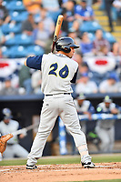 Columbia Fireflies first baseman Jeremy Vasquez (20) awaits a pitch during a game against the Asheville Tourists at McCormick Field on April 12, 2018 in Asheville, North Carolina. The Fireflies defeated the Tourists 7-5. (Tony Farlow/Four Seam Images)