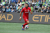 SEATTLE, WA - NOVEMBER 10: Justin Morrow #2 of Toronto FC plays the ball during a game between Toronto FC and Seattle Sounders FC at CenturyLink Field on November 10, 2019 in Seattle, Washington.