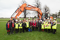 Primay school pupils and teachers turn the first sod at the site of the new Newark Academy being built by Kier Construction