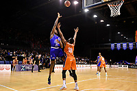 Romaro Gill of the Wellington Saints shoots the ball during the round two NBL match between the Wellington Saints and the Southland Sharks at TSB Bank Arena, Wellington, New Zealand on Friday 7 May 2021.<br /> Photo by Masanori Udagawa. <br /> www.photowellington.photoshelter.com