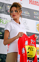 Hostess during the first stage of the Castilla and Leon 2013 Cycling Tour waits for the arrival of the winner. The first stage of the 28th tour took place from Arevalo (Avila) to Valladolid. April 12, 2013. Valladolid, Spain. (Alterphotos/Victor J Blanco) /NortePhoto