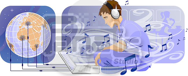 Man downloading music from internet
