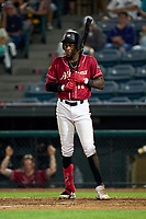 Altoona Curve Oneil Cruz (13) bats during a game against the Erie Seawolves on September 7, 2021 at Peoples Natural Gas Field in Altoona, Pennsylvania.  (Mike Janes/Four Seam Images)