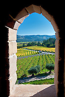 View through castle window at Castello di Amorosa. Napa Valley, California. Property relased
