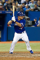 Toronto Blue Jays designated hitter Jeff Mathis #6 during an American League game against the Boston Red Sox at Rogers Centre on June 3, 2012 in Toronto, Ontario.  (Mike Janes/Four Seam Images)