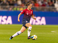 REIMS, FRANCE - JUNE 08: Isabell Herlovsen #7 dribbles during a game between Norway and Nigeria at Stade Auguste-Delaune on June 8, 2019 in Reims, France.