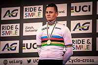 podium:<br /> Mathieu van der Poel (NED) retains the rainbow jersey yet another year. <br /> <br /> Men's Elite race<br /> UCI 2020 Cyclocross World Championships<br /> Dübendorf / Switzerland<br /> <br /> ©kramon
