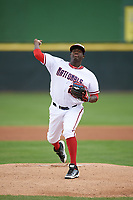Potomac Nationals starting pitcher Wirkin Estevez (24) delivers a pitch during the first game of a doubleheader against the Salem Red Sox on May 13, 2017 at G. Richard Pfitzner Stadium in Woodbridge, Virginia.  Potomac defeated Salem 6-0.  (Mike Janes/Four Seam Images)