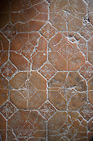 A detail of a terracotta tiled floor with floral motif.