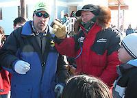 Jon Little.Doug Swingley determines a parking spot for his team in Koyuk, March 13, 2006