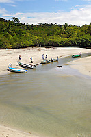 The boats ferry tourists into Manuel Antonio National Park at First Beach and the Pacific Ocean at Manuel Antonio, Costa Rica