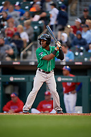 Norfolk Tides Cedric Mullins (38) bats during an International League game against the Buffalo Bisons on June 21, 2019 at Sahlen Field in Buffalo, New York.  Buffalo defeated Norfolk 1-0, the second game of a doubleheader.  (Mike Janes/Four Seam Images)