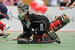 GER - Luebeck, Germany, February 06: During the 1. Bundesliga Damen indoor hockey semi final match at the Final 4 between Berliner HC (blue) and Duesseldorfer HC (red) on February 6, 2016 at Hansehalle Luebeck in Luebeck, Germany. Final score 1-3 (HT 0-1). (Photo by Dirk Markgraf / www.265-images.com) *** Local caption *** Nathalie Kubalski (TW) #1 of Duesseldorfer HC