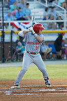 Greeneville Reds infielder Rylan Thomas (37) at bat during a game against the Burlington Royals at the Burlington Athletic Complex on July 7, 2018 in Burlington, North Carolina.  Burlington defeated Greeneville 2-1. (Robert Gurganus/Four Seam Images)