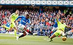 05.05.2019 Rangers v Hibs: Jermain Defoe beats Darren McGregor but his shot is saved