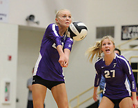 Brooke Rockwell (20) of Fayetteville hits ball on Thursday, Oct.  7, 2021, during play at Tiger Arena in Bentonville. Visit nwaonline.com/211008Daily/ for today's photo gallery.<br /> (Special to the NWA Democrat-Gazette/David Beach)