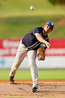 Starting pitcher Peter Tago #26 of the Asheville Tourists in action against the Kannapolis Intimidators at Fieldcrest Cannon Stadium on July 28, 2011 in Kannapolis, North Carolina.  The Intimidators defeated the Tourists 2-1 in 10 innings.   (Brian Westerholt / Four Seam Images)