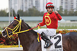 Jockey Willie Martinez giving the thumbs up after winning the Swale Stakes(G3) at Gulfstream Park, Hallandale Beach Florida. 03-10-2012