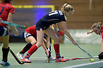 GER - Luebeck, Germany, February 06: During the 1. Bundesliga Damen indoor hockey semi final match at the Final 4 between Berliner HC (blue) and Duesseldorfer HC (red) on February 6, 2016 at Hansehalle Luebeck in Luebeck, Germany. Final score 1-3 (HT 0-1). (Photo by Dirk Markgraf / www.265-images.com) *** Local caption *** Lena Langer #11 of Berliner HC