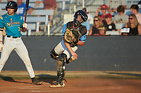 Dry Pond Blue Sox catcher Kyle Brittain (5) (North Lincoln HS) makes a throw to second base against the Mooresville Spinners at Moor Park on July 2, 2020 in Mooresville, NC.  The Spinners defeated the Blue Sox 9-4. (Brian Westerholt/Four Seam Images)