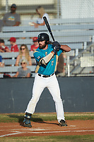 Brayden Combs (10) (Rice) of the Mooresville Spinners at bat against the Lake Norman Copperheads at Moor Park on July 6, 2020 in Mooresville, NC.  The Spinners defeated the Copperheads 3-2. (Brian Westerholt/Four Seam Images)