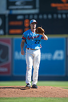 Spokane Indians starting pitcher Chi Chi Gonzalez (22) waits to receive the ball back from the catcher in a rehab assignment during a Northwest League game against the Vancouver Canadians at Avista Stadium on September 2, 2018 in Spokane, Washington. The Spokane Indians defeated the Vancouver Canadians by a score of 3-1. (Zachary Lucy/Four Seam Images)
