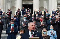 """United States House Minority Whip Steve Scalise (Republican of Louisiana), offers remarks as he is joined by US House Minority Leader Kevin McCarthy (Republican of California) and others during a press conference regarding the """"Commitment to America: to restore our way of life, rebuild the greatest economy, and renew the American dream"""" on the House Steps at the US Capitol in Washington, DC., Tuesday, September 15, 2020. Credit: Rod Lamkey / CNP /MediaPunch"""