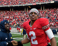 November 22, 2008. Ohio State quarterback Terrelle Pryor (2) gets congratulated after the win.  The Ohio State Buckeyes defeated the Michigan Wolverines 42-7 on November 22, 2008 at Ohio Stadium, Columbus, Ohio.
