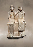 Ancient Roman statue of Pendua and his wife Nefertari, limestone, New Kingdom, 19th Dynasty, (1292-1186 BC),  Deir-el-Medina, Thebes. Egyptian Museum, Turin. .<br /> <br />  Carved in Thebian white limestone the statue of Pendua and his wife Nefertari shows the skill and attention to details of the sculptors of Deir-el-Medina, the worker's village of those who built the Royal Tombs at Thebes. The theme of the family is echoed by a carving of a daughter between the two figures.