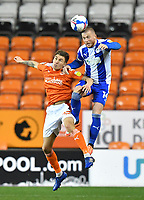 Blackpool's Daniel Leo Gretarsson battles with Wigan Athletic's Joe Garner<br /> <br /> Photographer Dave Howarth/CameraSport<br /> <br /> The EFL Sky Bet League One - Blackpool v Wigan Athletic - Tuesday 3rd November 2020 - Bloomfield Road - Blackpool<br /> <br /> World Copyright © 2020 CameraSport. All rights reserved. 43 Linden Ave. Countesthorpe. Leicester. England. LE8 5PG - Tel: +44 (0) 116 277 4147 - admin@camerasport.com - www.camerasport.com
