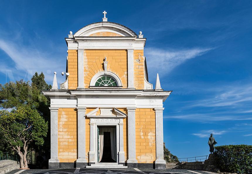 San Giorgio, St. George church, Portofino, Genoa, Liguria, Italy.