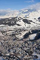 Europe/France/Rhone-Alpes/74/Haute-Savoie/Megève: la station et le massif du Mont Blanc - Vue Aérienne