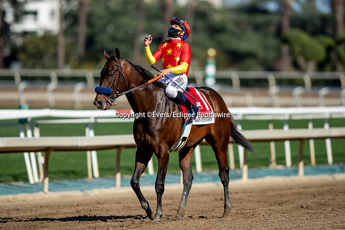 March 06, 2021: Life is Good with Mike Smith wins the San Felipe Stakes at Santa Anita Park in Arcadia, California on March 06, 2021. Evers/Eclipse Sportswire/CSM