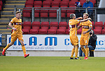 St Johnstone v Motherwell…17.12.16     McDiarmid Park    SPFL<br />Richard Tait celebrates his goal with Keith Lasley<br />Picture by Graeme Hart.<br />Copyright Perthshire Picture Agency<br />Tel: 01738 623350  Mobile: 07990 594431