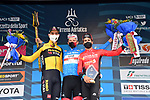 Tadej Pogacar (SLO) UAE Team Emirates wins the overall general classification of Tirreno-Adriatico Eolo 2021 with Wout Van Aert (BEL) Team Jumbo-Visma in 2nd place and Mikel Landa (ESP) Bahrain Victorious 3rd after Stage 7, an individual time trial running 10.1km around San Benedetto del Tronto, Italy. 16th March 2021. <br /> Photo: LaPresse/Gian Mattia D'Alberto | Cyclefile<br /> <br /> All photos usage must carry mandatory copyright credit (© Cyclefile | LaPresse/Gian Mattia D'Alberto)