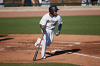 Alexander Ovalles (26) of the Charleston RiverDogs starts down the first base line against the Augusta GreenJackets at Joseph P. Riley, Jr. Park on June 27, 2021 in Charleston, South Carolina. (Brian Westerholt/Four Seam Images)