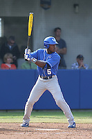 JaVon Shelby (5) of the Kentucky Wildcats bats during a game against the UC Santa Barbara Gauchos at Caesar Uyesaka Stadium on March 20, 2015 in Santa Barbara, California. UC Santa Barbara defeated Kentucky, 10-3. (Larry Goren/Four Seam Images)