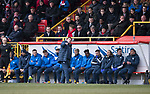 Aberdeen v St Johnstone…31.03.18…  Pittodrie    SPFL<br />An unhappy Tommy Wright talks with assistant Callum Davidson<br />Picture by Graeme Hart. <br />Copyright Perthshire Picture Agency<br />Tel: 01738 623350  Mobile: 07990 594431