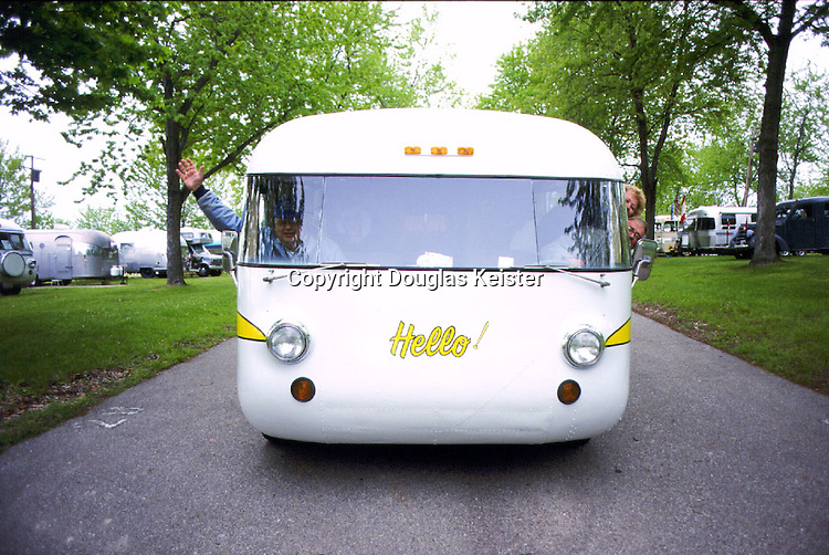 Barbara and Paul Piché of Berkley, Michigan, acquired this happy 1968 Ultra Van #389 in 1996. They are longtime members of the Tin Can Tourists and the Ultra Van clubs, and their van often serves as a commuter vehicle, transporting rally attendees from location to location. When traveling down the road, their friendly whale-like van always elicits smiles. Photographed in Camp Dearborn, Michigan.
