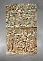 Pictures & images of the North Gate Hittite sculpture stele depicting musicians playing instruments. 8the century BC.  Karatepe Aslantas Open-Air Museum (Karatepe-Aslantaş Açık Hava Müzesi), Osmaniye Province, Turkey. Against grey art background