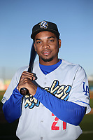 Yusniel Diaz (21) of the Rancho Cucamonga Quakes poses for a photo before a game against the Lancaster JetHawks at The Hanger on April 20, 2017 in Lancaster, California. Lancaster defeated Rancho Cucamonga 4-0. (Larry Goren/Four Seam Images)
