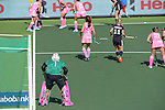The Hague, Netherlands, June 06: During the field hockey group match (Women - Group B) between Germany and Argentina on June 6, 2014 during the World Cup 2014 at Kyocera Stadium in The Hague, Netherlands. Final score 0-3 (0-2) (Photo by Dirk Markgraf / www.265-images.com) *** Local caption *** Belen Succi #1 of Argentina, Mariana Rossi #2 of Argentina, Eileen Hoffmann #11 of Germany, Noel Barrionuevo #27 of Argentina