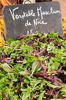 Europe/France/Provence-Alpes-Côte d'Azur/Alpes-Maritimes/Cannes: Marché Forville: Mesclun //  //    Europe, France, Provence-Alpes-Côte d'Azur, Alpes-Maritimes, Cannes:  Forville market Salad mix